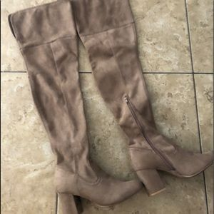 Wild Diva Faux Suede Stretch Over The Knee Boots